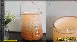 Série de 3 grands vases bougeoirs en verre taillé 20 cm