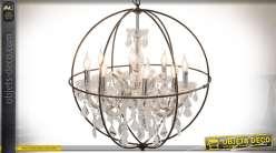 Lustre sphère à 8 feux avec pièces d'enfilage et pampilles en cristal Ø 66 cm