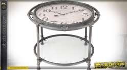 Table basse horloge ronde à double plateaux style rétro Ø 60 cm