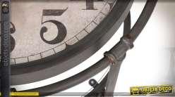 Table basse horloge vintage ronde à double plateaux style rétro Ø 60 cm