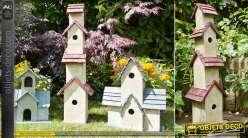 Grand hôtel à oiseaux de style rustique et rétro en bois 80 cm
