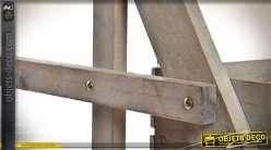 Chariot de présentation à 4 niveaux avec pergola finition bois naturel 180 cm