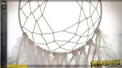 Attrape-rêves amérindien en coton tressé et plumes blanches 73 cm