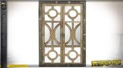 Miroir-fenêtre de style rustique et industriel en bois et métal 120 cm