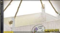 Série de trois jardinières suspendues en bois et cordages 48 x 30 cm
