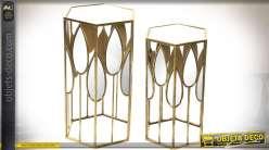 Duo de sellettes hexagonales design en métal doré et miroirs 70 cm