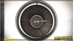 Horloge murale métal industrielle en forme de turbine de réacteur Ø 80 vm