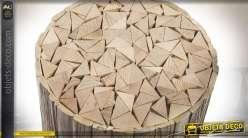 Bout de canapé circulaire effet rondins de bois brut et naturel 45 cm