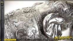 Statuette d'éléphant rendu effet métal argenté brillant : 66 cm