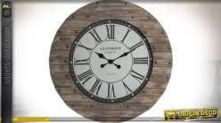 Grande horloge style bois rustique massif et métal vieilli et rivets anciens Ø 92 cm