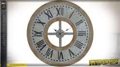 Horloge murale industrielle en bois et métal effet vieilli Ø 74 cm