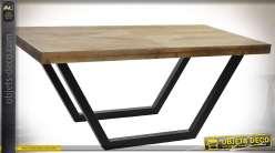 Table basse rustique et design et bois vielli et métal noir mat 120 x 60 cm