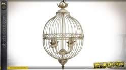 Suspension cage à oiseaux vintage éclairage 4 feux patine crème Ø 40,5 cm