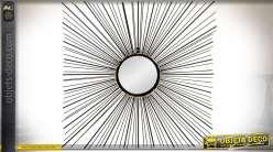 Miroir rond encadrement carré en rayonnements fils de métal noirs 71 x 71 cm