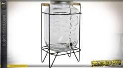 Distributeur de boisson rétro en verre et métal (capacité 8 litres)