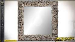 Miroir mural 80 x 80 cm avec encadrement en bois flotté aspect vieilli