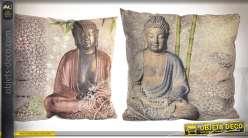 Série de deux coussins complets style zen avec illustrations de bouddhas 43 x 43 cm