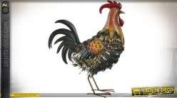 Coq décoratif en métal plumage stylisé multicolore 55 cm