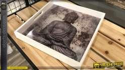Plateau en bois laqué blanc avec fond illustré Bouddha 33 x 33 cm modèle 1 foncé