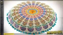 Coussin de sol en coton motifs mandala style indien Ø 40 cm