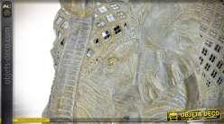 Statuette éléphant effet pierre nacrée et mosaïques de miroirs 50 cm