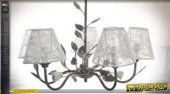 Lustre 5 bras métal feuillages abat-jour à voilages blancs fleuris Ø 56 cm