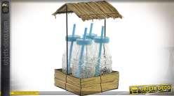 Série de 4 verres 30 cl avec bouchon pailles et présentoir style tropical