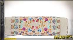 Traversin en coton écru et motifs indiens en mandalas 52 cm