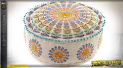 Pouf en coton épais style indien motifs mandala Ø 60 cm 7,5 kg
