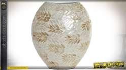 Vase ovale et plat en bambou habillage mosaïque nacrée dorée argentée 35 cm