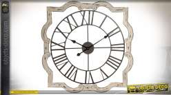 Horloge murale originale en bois et métal style rétro Ø 70 cm