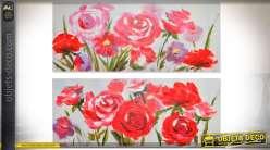 Duo de grandes peintures sur toiles roses rouges 135 x 55 cm