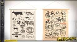 Série de 2 tableaux en toile à suspendre style vintage : bicyclettes et boeufs 95 cm
