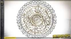Fresque murale en bois sculpté forme circulaire finition banc vieilli et doré Ø 60 cm