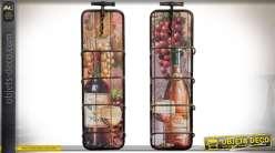 Série de deux porte-bouteilles en métal déco thème vigne et raison 63 cm