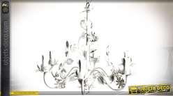 Lustre à 6 bras en métal blanc avec ornementation florale en métal Ø 56 cm
