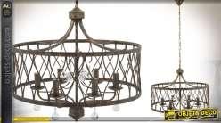 Lustre à pampilles à six bras avec cage cylindrique en métal oxydé Ø 65 cm