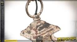 Lanterne carrée métal avec 4 points lumineux finition crème vieilli 76 cm