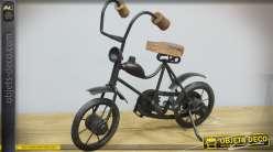 Vélo décoratif rétro en métal et bois style vintage 26 cm