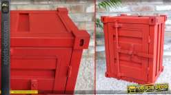 Table de chevet en forme de mini container rouge en métal 55 cm