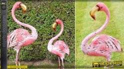 Grand flamant rose en métal pour décoration animalière 120 cm