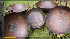 Set de 5 plats de service et de cuisson Kadhai indiens Ø 30 à 40 cm
