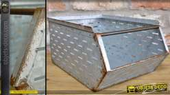 Casier de rangement industriel empilable en métal finition zinc vieilli 36 cm