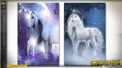 Série de 2 tableaux sur toile représentant des licornes 70 x 50 cm