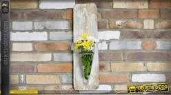 Vase mural en forme d'applique décorative en bois et verre 61 cm