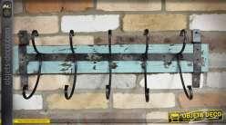 Grand porte-manteaux style rustique en bois et métal 75 cm