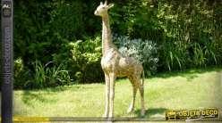 Sculpture de girafe ornementale en résine 92 cm