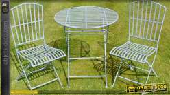 Salon de jardin en métal et fer forgé 2 places coloris bleu clair, table Ø 70 cm