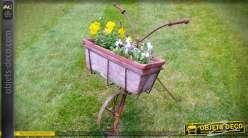 Vélo jardinière en métal oxydé avec bac à fleurs rectangulaire 46 cm