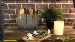 Vase large en grés gris vieilli avec bordures en coulées dorées Ø 19,5 cm